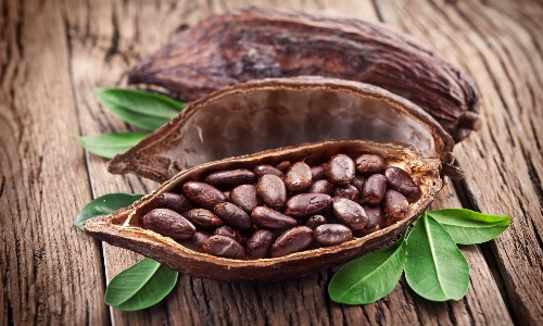 Какао бобы, содержащие кофеин