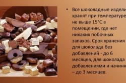 Сроки хранения шоколадных изделий